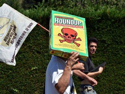 Manifestants demandant l'interdiction de l'herbicide glyphosate le 17 août 2017, à Foix, en Ariège    REMY GABALDA [AFP/Archives]