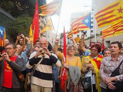 Manifestation à Perpignan, en France, devant le consulat d'Espagne contre les violences policières en Catalogne, le 2 octobre 2017    RAYMOND ROIG [AFP/Archives]