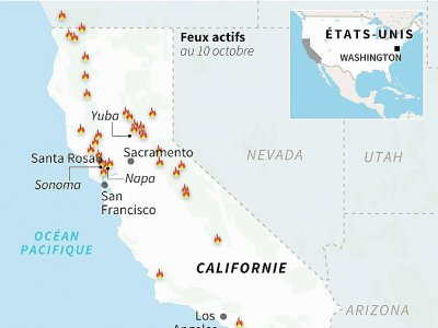 Carte de localisation des incendies en Californie au 10 octobre