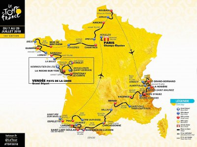 Le parcours officiel du Tour de France 2018    © ASO
