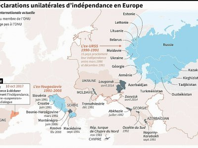 Carte des déclarations unilatérales d'indépendance en Europe et état actuel de leur adhésion ou non aux Nations unies    Thomas SAINT-CRICQ [AFP]