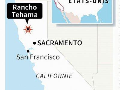 Carte de Californie localisant la fusillade survenue dans une école élémentaire de Rancho Tehama au nord de Sacramento, la capitale de l'Etat    Nicolas RAMALLO [AFP]