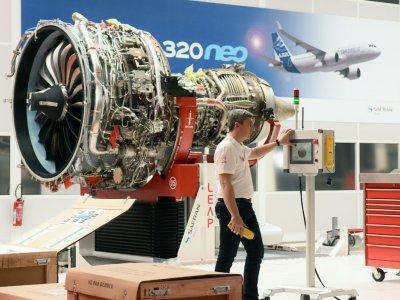 Un moteur LEAP-1A qui équipe les A320neo. Il est produit par CFM, une coentreprise entre Safran et General Electric - REMY GABALDA [AFP/Archives]