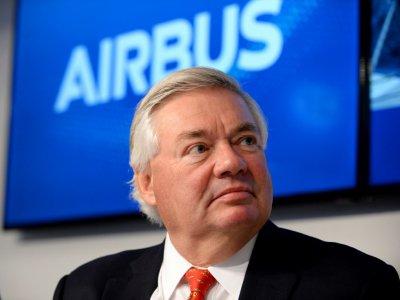 Le directeur commercial d'Airbus, John Leahy, lors d'une conférence de presse, le 22 juin 2017 à l'occasion du salon aéronautique du Bourget, près de Paris - ERIC PIERMONT [AFP/Archives]