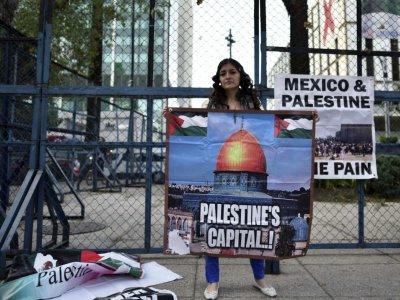Une membre d'un groupe de solidarité palestinien arbore une pancarte lors d'une manifestation contre la décision de Donald Trump sur Jérusalem, le 8 décembre 2017 - YURI CORTEZ [AFP]