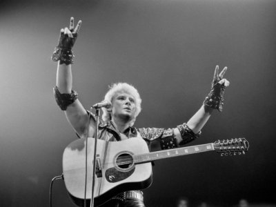 Johnny Hallyday au Palais des Sports de Paris, le 14 septembre 1982