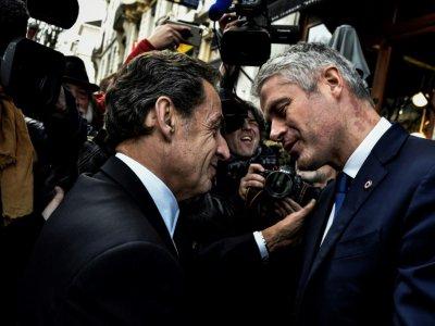 Nicolas Sarkozy et Laurent Wauquiez le 8 décembre 2017 à Lyon    JEFF PACHOUD [AFP]