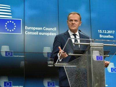 Le président du Conseil européen  Donald Tusk le 15 décembre 2017 à Bruxelles    JOHN THYS [AFP]