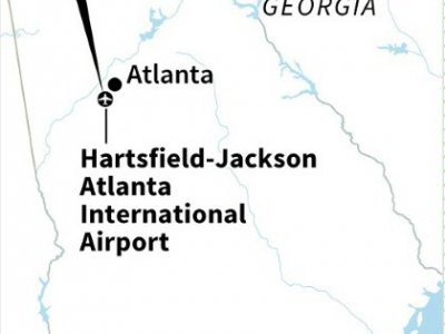 Map of Georgia in US locating the Hartsfield-Jackson Atlanta International Airport.