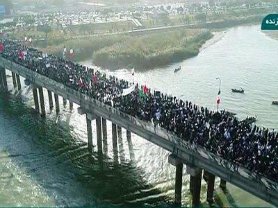 Capture d'écran d'une chaîne de télévision iranienne montrant un rassemblement de soutien au régime le 3 janvier 2018 dans la ville de Ahvaz    HO [IRINN/AFP]