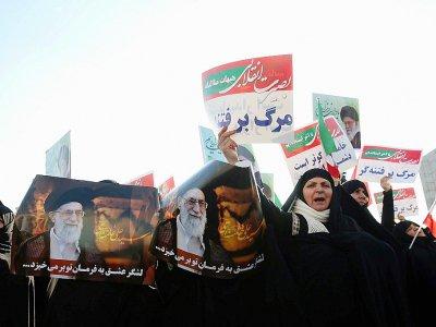 Manifestation prorégime dans le ville iranienne de Machhad, le 4 janvier 2018    NIMA NAJAFZADEH [TASNIM NEWS/AFP]