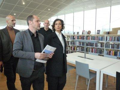 La ministre de la culture, Audrey Azoulay, lors de sa visite de la bibliothèque Alexis de Tocqueville vendredi 13 janvier 2017.    Margaux Rousset