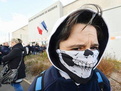 des gardiens de prison en grève à Beziers, le 22 janvier 2018    PASCAL GUYOT [AFP/Archives]