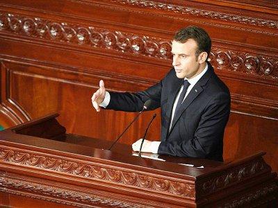 Le président français Emmanuel Macron lors d'un discours devant le Parlement tunisien, le 1er février 2018 à Tunis    Eric FEFERBERG [AFP]