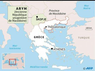 Carte de localisation de la province de Macédoine en Grèce et de l'ancienne République yougoslave de Macédoine    Kun TIAN [AFP]