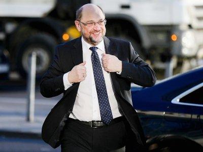 Martin Schulz, leader du SPD, arrive pour de nouvelles discussions sur la formation d'un gouvernement, le 6 février 2018 à Berlin    Kay Nietfeld [DPA/AFP]