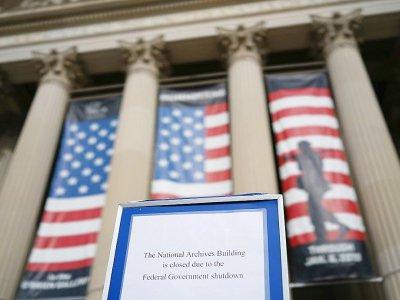 """Les Archives nationales à Washington ont été contraintes de fermer lors du """"shutdown"""" de plusieurs jours en janvier 2018 - MANDEL NGAN [AFP/Archives]"""