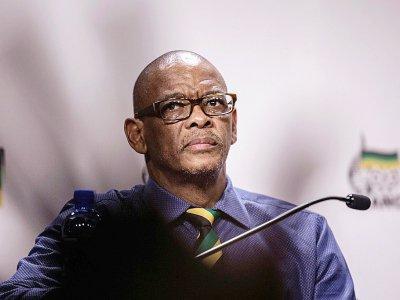 Ace Magashule, secrétaire général du parti au pouvoir en Afrique du Sud, le Congrès National Africain (ANC), lors d'une conférence de presse le 13 février 2018 à Johannesbourg    GIANLUIGI GUERCIA [AFP]