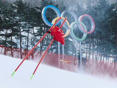 Les rafales de vent font se courber une porte du slalom géant de Jeongseon, le 12 février 2018    Dimitar DILKOFF [AFP/Archives]
