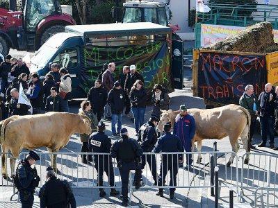 Des agriculteurs bloquent la circulation à Bordeaux le 21 février 2018 pour protester contre  le projet d'accord de libre-échange entre l'Union européenne et le Mercosur - MEHDI FEDOUACH [AFP]