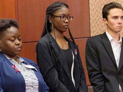 Deux survivants de la fusillade du lycée Marjory Stoneman Douglas, ici au Congrès à Washington le 22 mars 2018    SAUL LOEB [AFP]