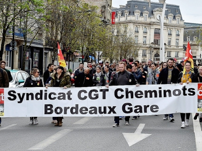 Manifestation de cheminots à Bordeaux, mardi 3 avril 2018
