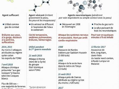 Principales armes chimiques létales, caractéristiques et historique de leurs utilisations passées ou présumées - Alain BOMMENEL, Sabrina BLANCHARD [AFP]