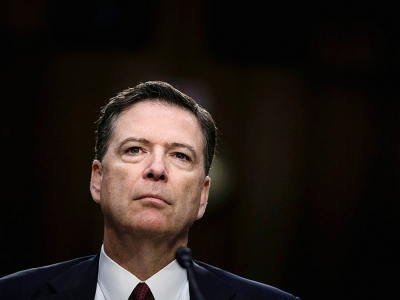 L'ex-directeur du FBI James Comey durant une audition au Sénat à Washington le 8 juin 2017