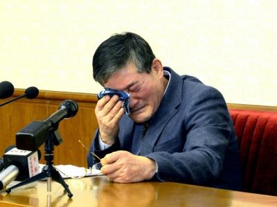 Photo fournie par l'agence nord-coréenne Kcna le 25 mars 2016 montrant l'Américain d'origine coréenne Kim Dong Chul, lors d'une conférence de presse à Pyongyang    KCNA [KCNA VIA KNS/AFP/Archives]