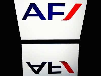 Le logo d'Air France photographié sur une tablette à Paris le 9 avril 2018    © Lionel BONAVENTURE [AFP/Archives]