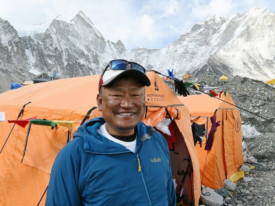 Le guide Ang Tshering Lama, le 23 avril 2018 au camp de base de l'Everest à 140 km au nord-est de Katmandou    © Prakash MATHEMA [AFP/Archives]