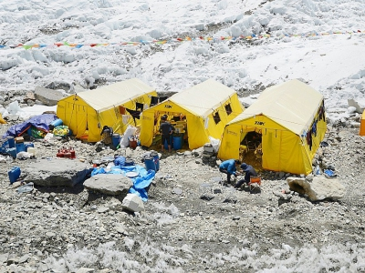 Tentes du camp de base de l'Everest le 24 avril 2018    © Prakash MATHEMA [AFP/Archives]