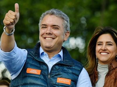 Le candidat de la droite à la présidentielle Ivan Duque lors d'un meeting de campagne, le 20 mai 2018 à Bogota - Raul ARBOLEDA [AFP/Archives]