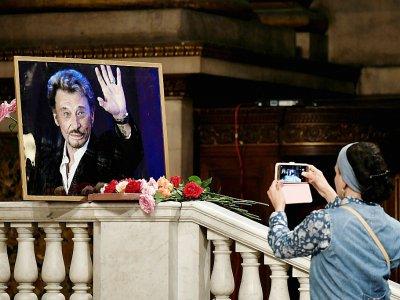 Hommage à Johnny Hallyday, qui aurait eu 75 ans, en l'église de la Madeleine à Paris, le 15 juin 2018 - Philippe LOPEZ [AFP]