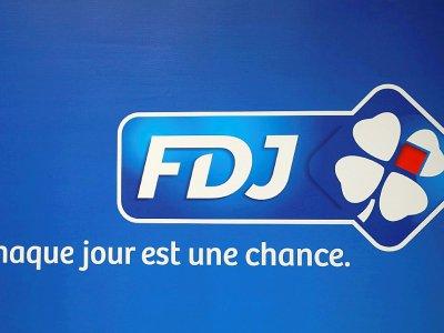 Le logo de la Française des jeux, photo prise à Pantin le 20 septembre 2016    JACQUES DEMARTHON [AFP/Archives]