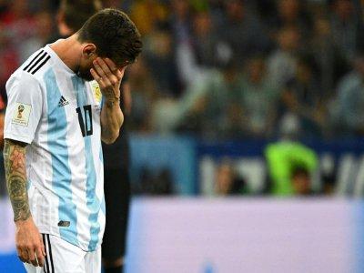 La déception de l'attaquant vedette de l'équipe d'Argentine Lionel Messi lors du match contre la Croatie au Mondial, le 21 juin 2018 à Nijni Novgorod    Johannes EISELE [AFP]