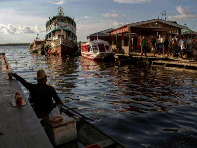 Des embarcations à Tefe, en pleine jungle amazonienne, au Brésil, le 30 juin 2018    MAURO PIMENTEL [AFP]