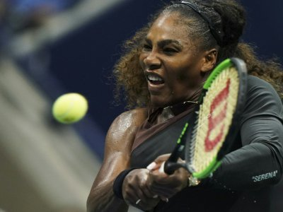 L'Américaine Serena Williams face à la Tchèque Karolina Pliskova en quarts de finale de l'US Open, le 4 septembre 2018 à New York