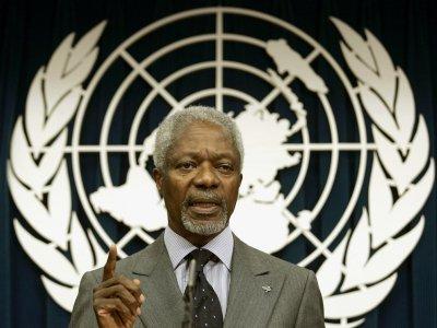 L'ancien secrétaire général des Nations unies Kifi Annan, lors d'une conférence de presse le 29 mars 2009 à New York.    Timothy A. CLARY [AFP/Archives]