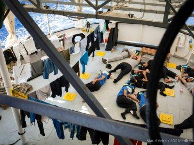 Photo prise le 24 septembre 2018 sur le navire humanitaire Aquarius    Maud VEITH [SOS MEDITERRANEE/AFP]