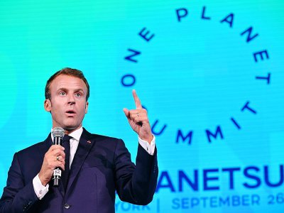 "Emmanuel Macron a pris mercredi la parole au ""One Planet Summit"", en marge de la réunion de l'ONU à New York"