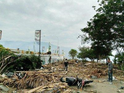 Des habitants constatent les dégâts après un puissant séisme et un tsunami à Palu, dans l'île des Célèbes en Indonésie, le 29 septembre 2018 - OLA GONDRONK [AFP]