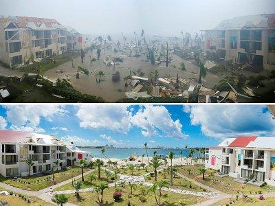 Hôtel Mercure à Marigot sur l'île de Saint-Martin, après le passage d'Irma le 6 septembre 2017 (en haut) et le 28 février 2018 (en bas) pendant la recontruction    LIONEL CHAMOISEAU [AFP/Archives]