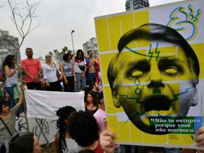 Des milliers de femmes sont descendues dans la rue contre la candidature de Jair Bolsonaro, le 29 septembre 2018 à Sao Paulo - Nelson Almeida [AFP]