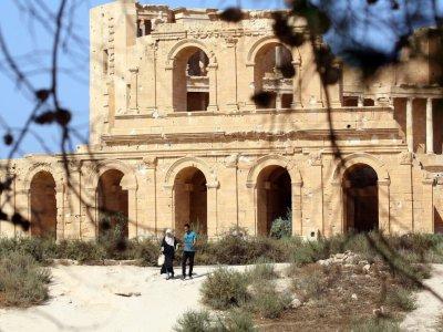 Un édifice dans la cité antique de Sabratha, à 70 km de Tripoli, le 1er septembre 2018 en Libye    MAHMUD TURKIA [AFP]