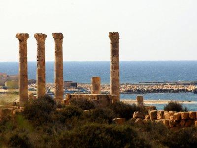 Un amphithéâtre dans la cité antique de Sabratha, le 1er septembre 2018 en Libye    MAHMUD TURKIA [AFP]