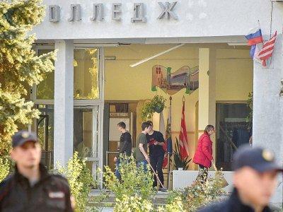 L'entrée du lycée polytechnique de Kertch, où 20 personnes ont été tuées le 17 octobre 2018 par un élève - Andrey PETRENKO [AFP]