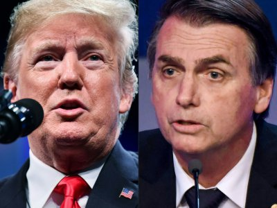 Montage réalisé le 8 octobre 2018 montrant le président américain Donald Trump et le président élu brésilien Jair Bolsonaro    MANDEL NGAN, Nelson ALMEIDA [AFP/Archives]