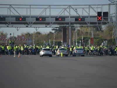 """Des """"gilets jaunes"""" bloquent le péage de Muret, près de Toulouse, le 24 novembre 2018    Pascal PAVANI [AFP]"""