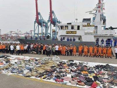 Des débris récupérés en mer sur le site du crash du Boeing de Lion Air exposés sur un quai de Jakarta, le 30 octobre 2018 en Indonésie    ADEK BERRY [AFP/Archives]
